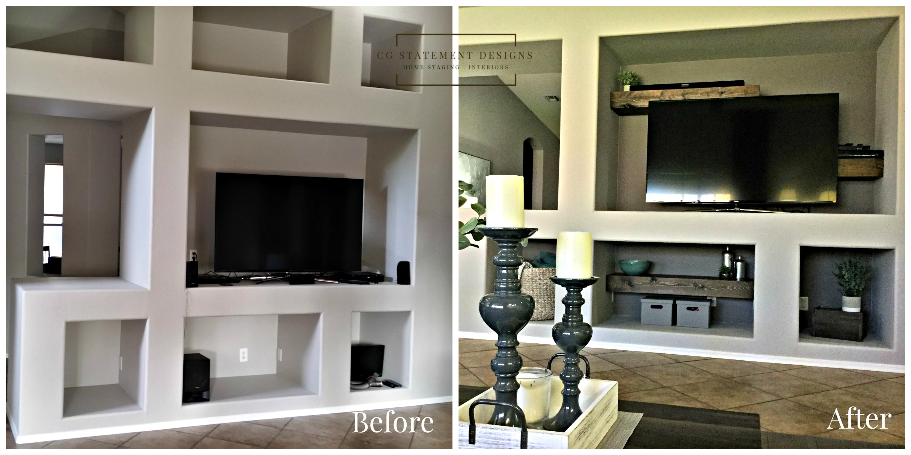 home staging redesign media wall before after