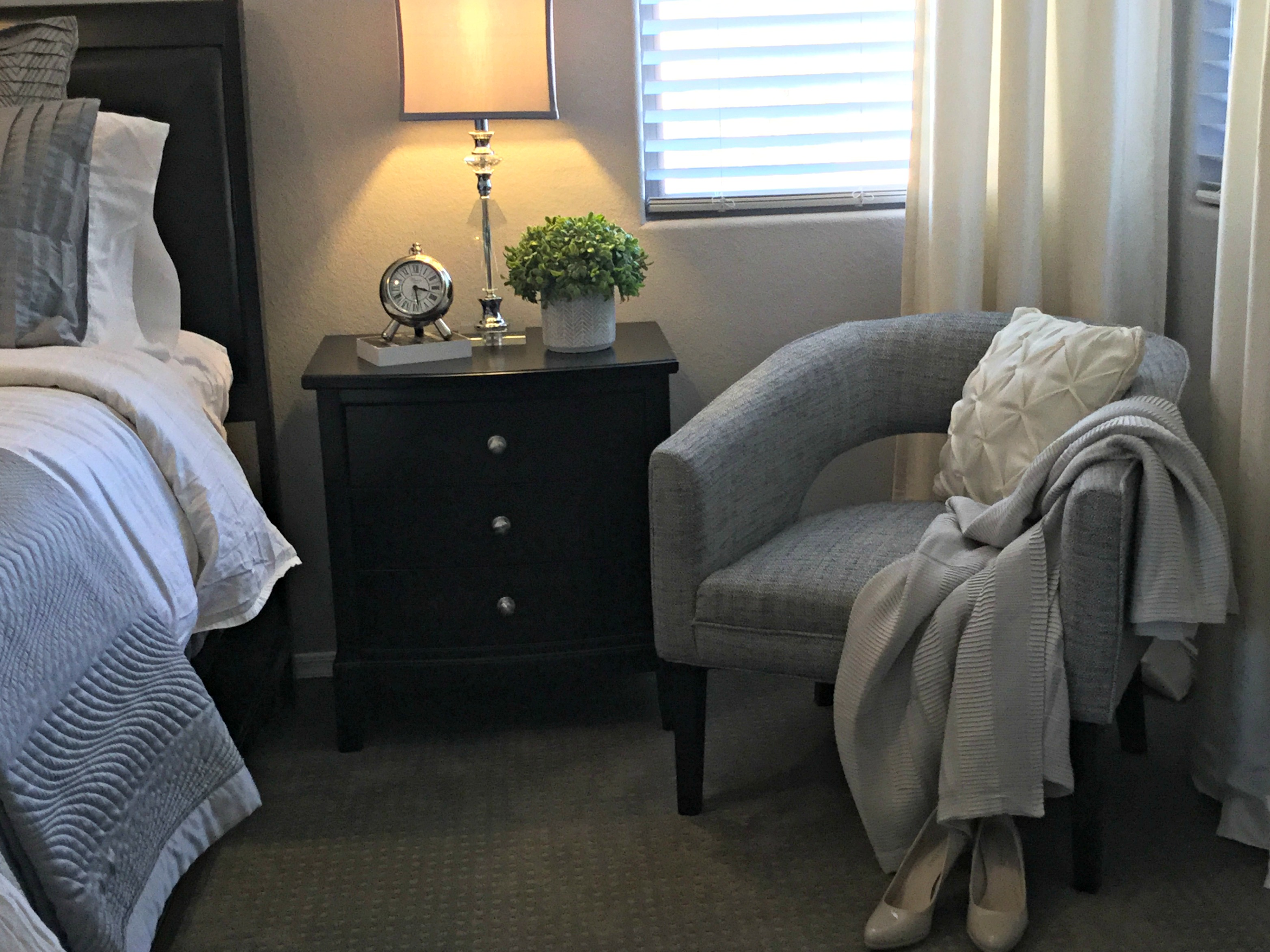 home staging bedroom reading chair